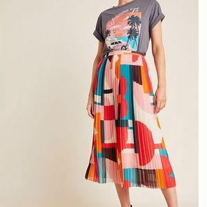 Anthropologie Multicolored Pleated Skirt